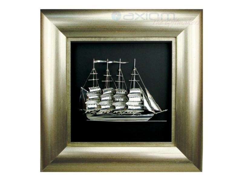 Ασημένιο καράβι σε κορνίζα