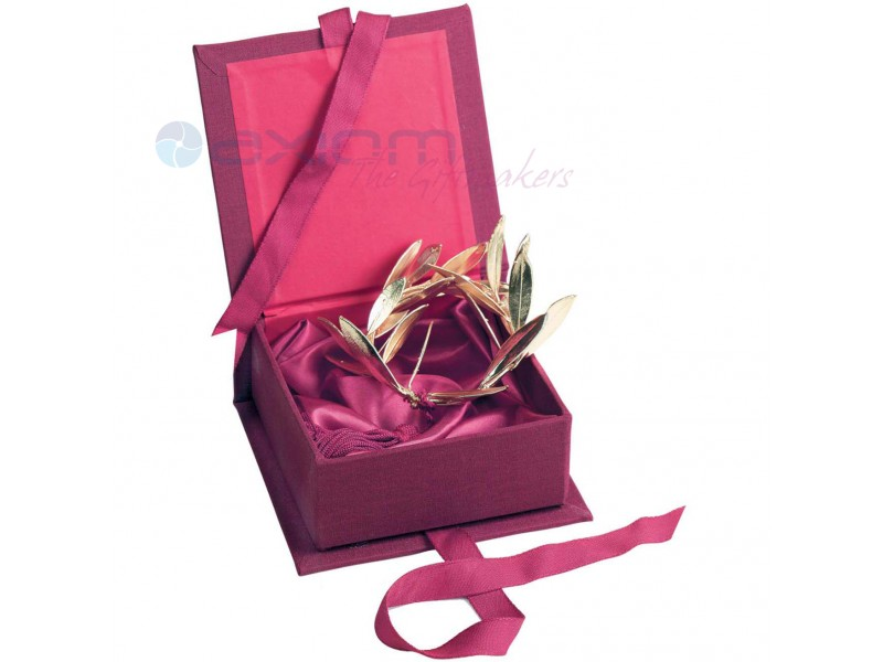 Διακοσμητικό   επιίχρυσο στεφάνι ελιάς  σε κουτί από λινό